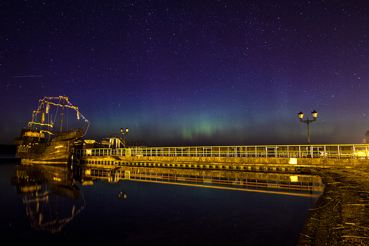 Aurora over the lake in north Poland.