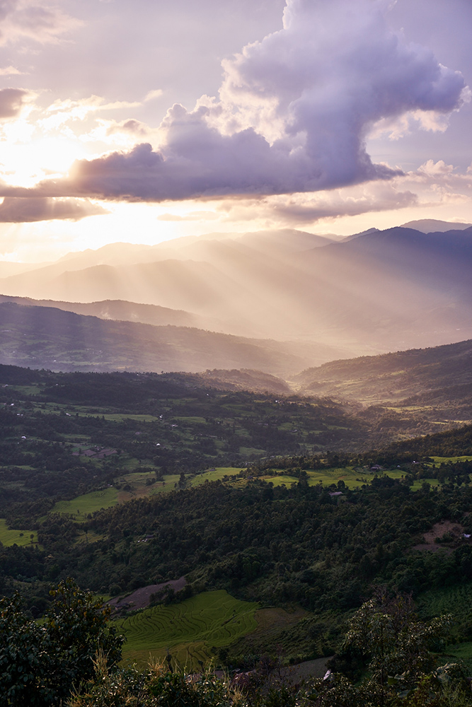 Landscape photography: Sunrays over the valley, Manipur, Northeast India
